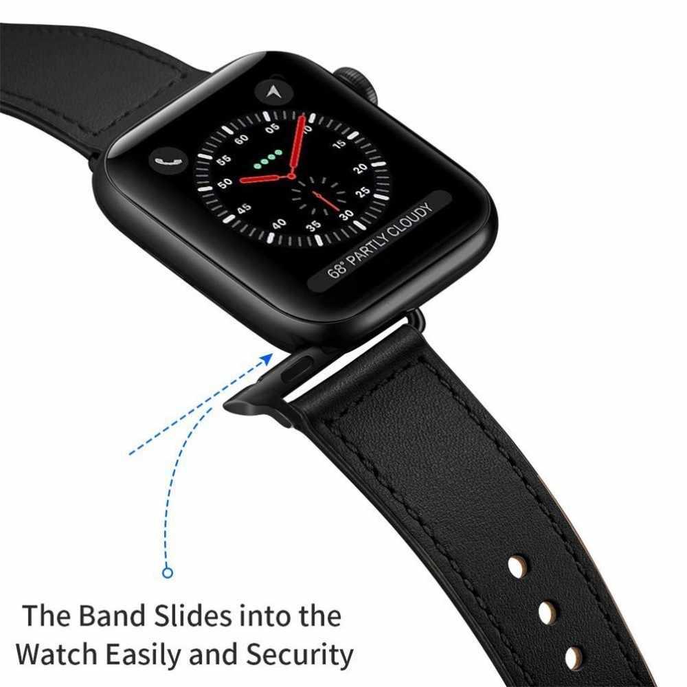 עור אמיתי רצועת עבור אפל שעון להקת 44mm 4 3 iwatch 42mm 38mm 40mm pulseira קוראת צמיד smart watch אביזרי לולאה
