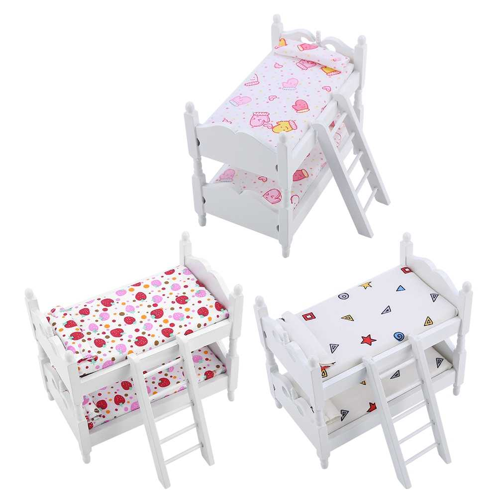 1:12 Doll House Mini Furniture Children Bedroom Model Bunk Bed Toys