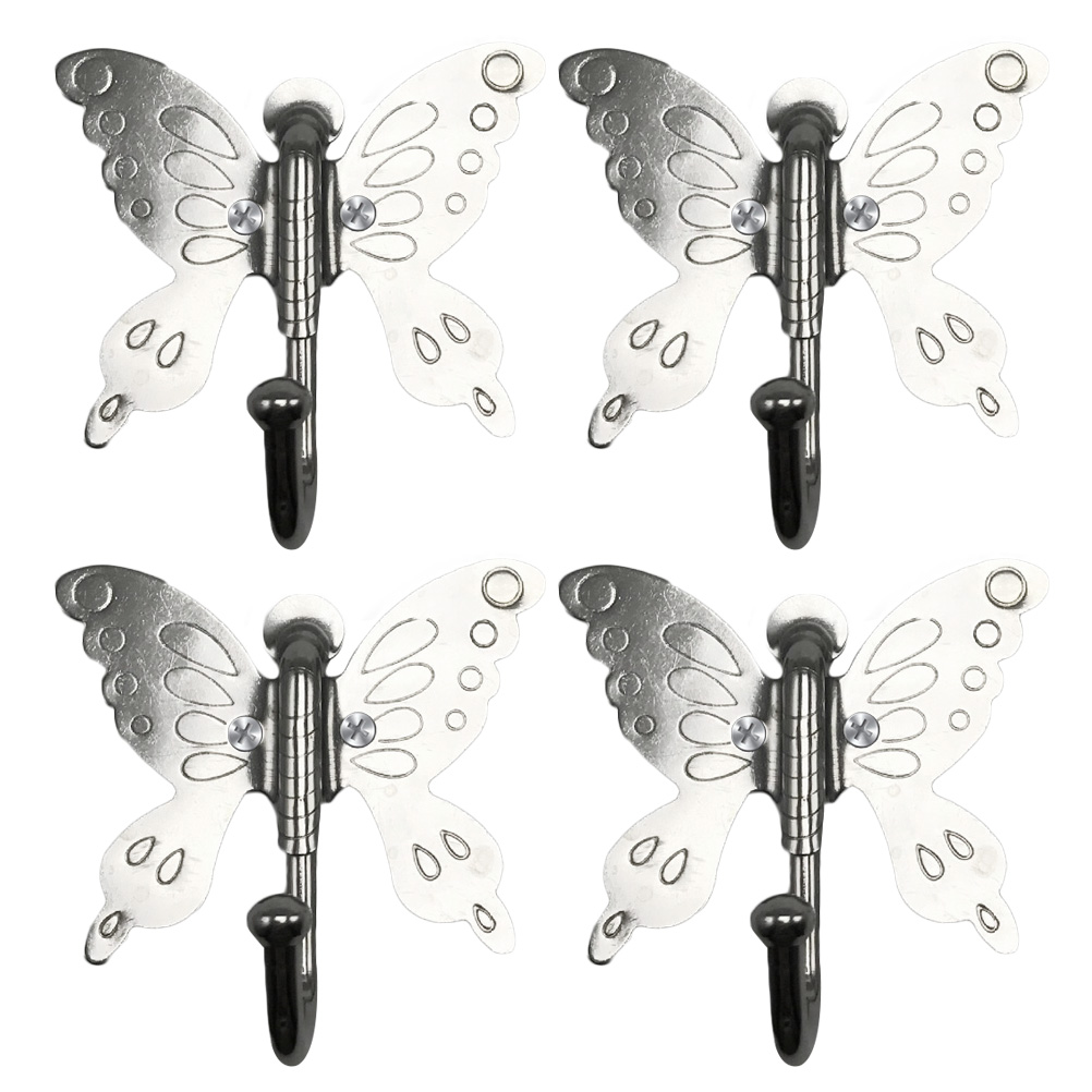 4pcs Stainless Steel Single Robe Hooks Portable Butterfly Pattern Fashion Table Hook Crystal Alloy Purse Handbag Bag Modern Design Home Improvement Robe Hooks