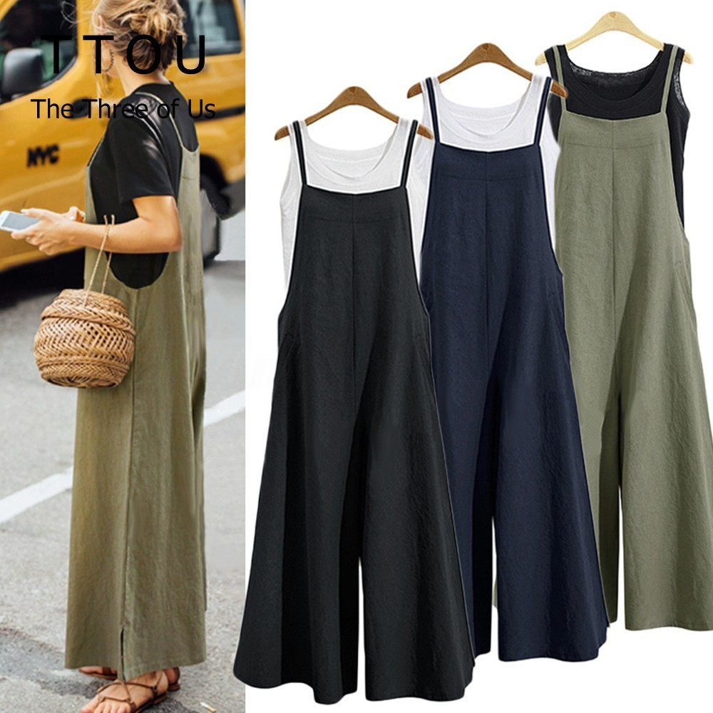TTOU S-5XL Summer Women Strappy Solid Comfy Wide Leg   Jumpsuits   Women's Casual Loose Dungarees Bib Overalls Cotton Linen Rompers