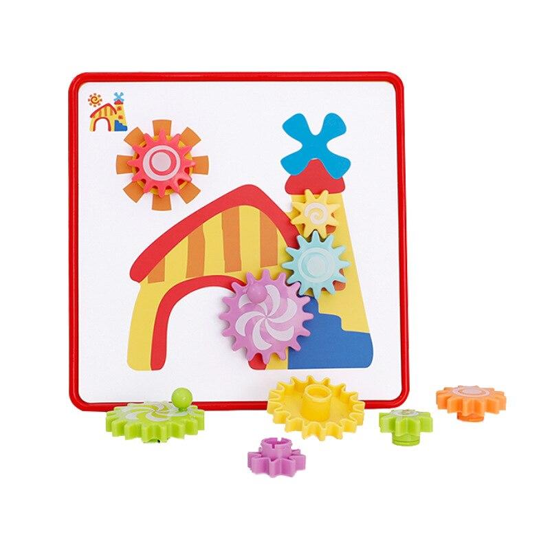 Montessori engrenages créatifs Puzzle Puzzle avec 12 cartes pc Kits de construction briques en plastique jouets éducatifs pour enfants d'âge préscolaire enfant