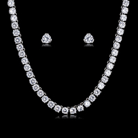 Trendy Crystal CZ Cubic Zirconia Bridal Wedding Necklace Earring Set Jewelry Sets for Women Prom Party Accessories CN10159