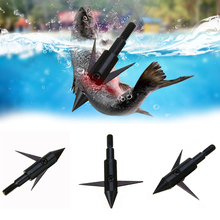3Pcs Archery Arrowhead Points Fishing Arrowheads Bowfishing Broadheads Tips Arrow Black Steel Accessory