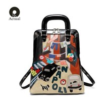 2019 Qian yi yuan fashion Backpack Multifunction Casual Women Bags Cartoon Design Leather Printing Shoulder School Bag For Girls