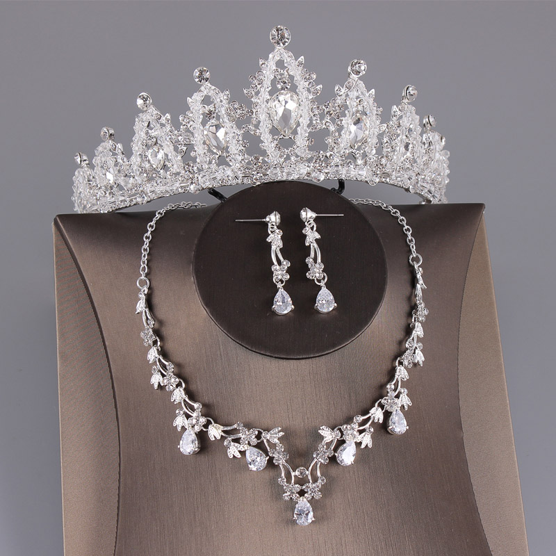 Wedding Bridal Jewelry Sets Earing And Necklace Set For Women Bride Crystal Crown Tiara Bridal Headpiece Silver Hair Accessories