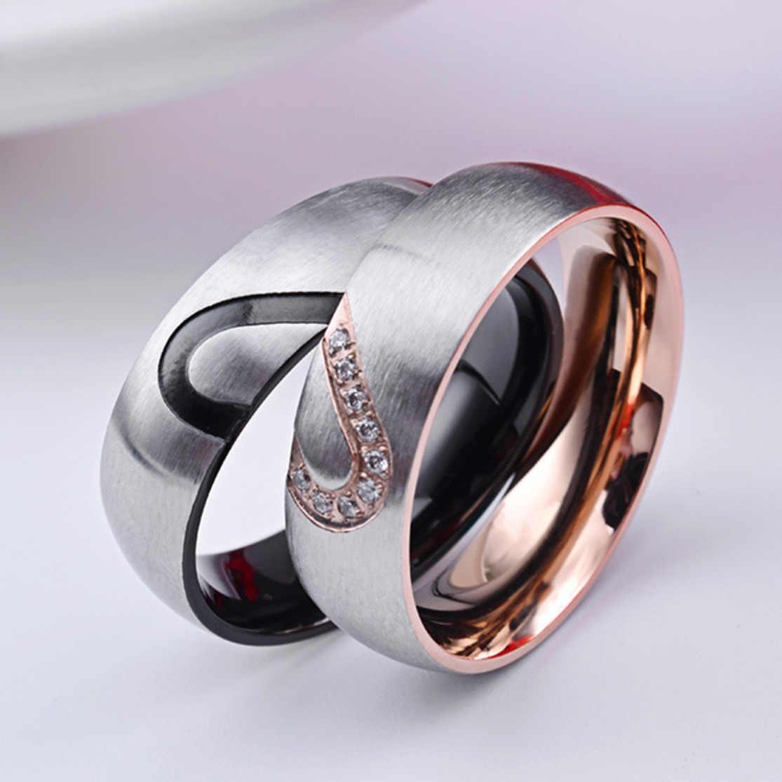 Bague de fiançailles en acier inoxydable pour Couples, bague de fiançailles de mariage, zircon cubique CZ 6mm incrusté