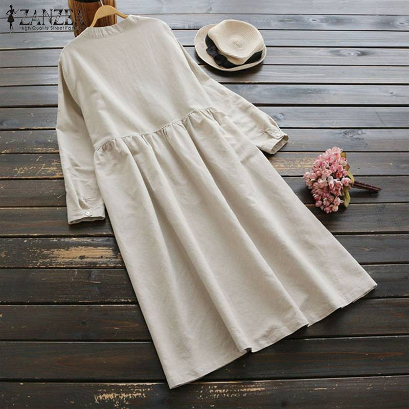 2019 Plus Size ZANZEA Spring Women Casual Long Sleeve Vintage Embroidery Cotton Linen Loose Party Long Shirt Dress Vestidos 1