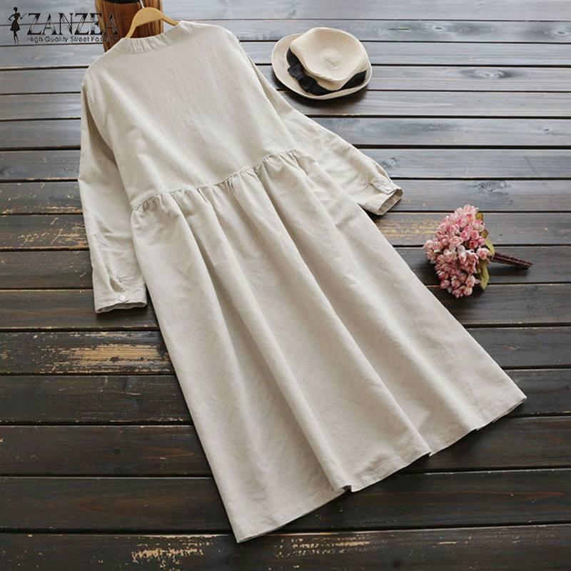 2019 Plus Size ZANZEA Spring Women Casual Long Sleeve Vintage Embroidery Cotton Linen Loose Party Long Shirt Dress Vestidos 1