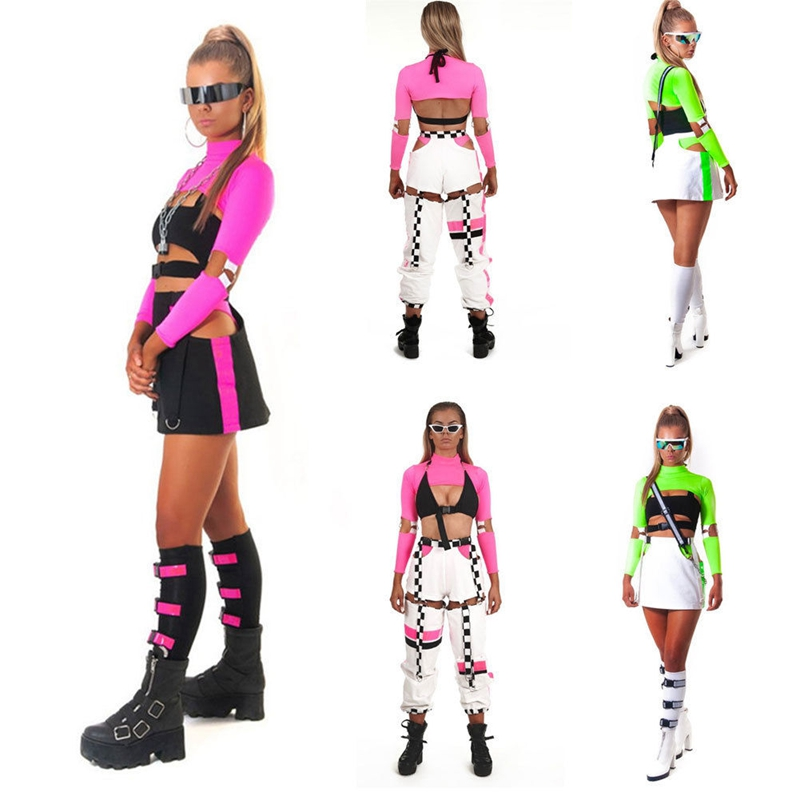 Sexy Women Cool Turtleneck Solid Fluorescence Long Sleeve Party Club Blouse Short Shirt Tops