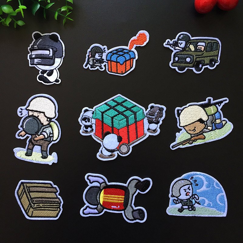 PGY Winner Chicken Dinner Patches Tactical Morale Patches Army Embroidered Patches PUBG Stickers Cartoon Soldier Appliques Decor image