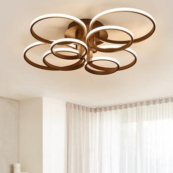 Brown White 4/6/8/10/rings Modern Led Ceiling Lights Plafonnier Led Ceiling Lamp For Living Room Foyer Bed Room Llampara Techo