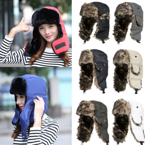 Adult Men Women Trapper Aviator Trooper Earflap Warm Russian Ski Hat Fur Bomber