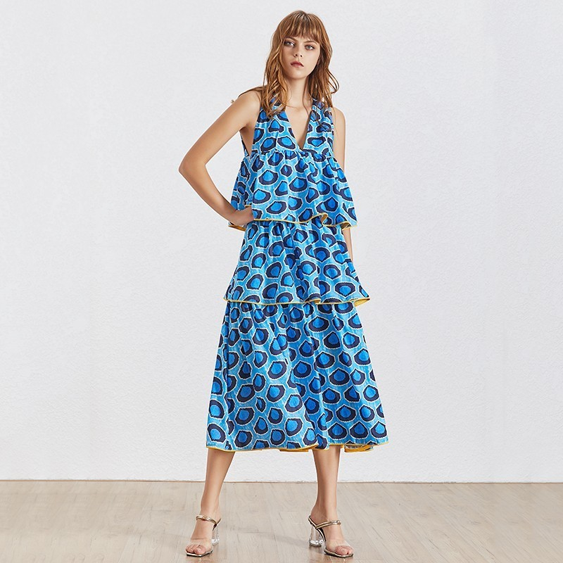 TWOTWINSTYLE Summer Sleeveless Women Dress V Neck Backless High Waist Ruffles Hit Color Midi Dresses Female Fashion 2019