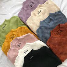 Водолазка с вышитыми буквами, женские свитера и пуловеры, Осень-зима, длинный рукав, Одноцветный, вязаный, тонкий, эластичный джемпер