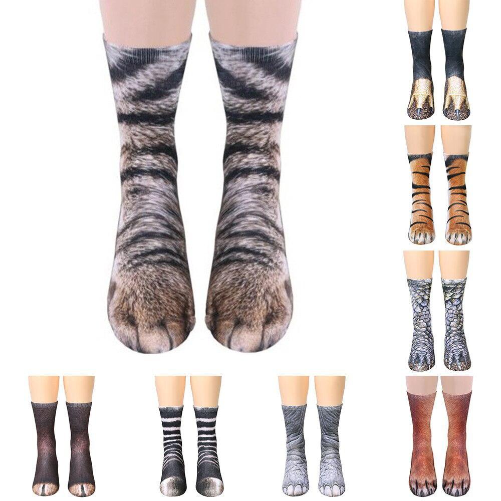 2019 Neue 3d Drucken Tier Fuß Huf Pfote Füße Crew Socken Erwachsene Digitale Simulation Socken Unisex Tiger Hund Katze Socke Geeignet FüR MäNner, Frauen Und Kinder