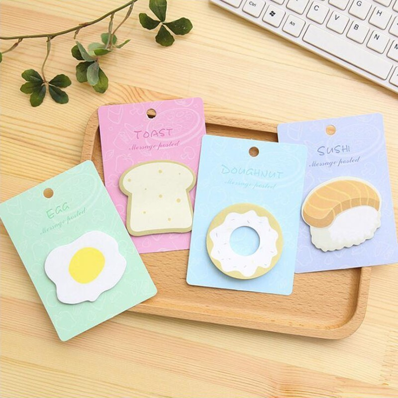Breakfast Pattern Self-Adhesive Memo Pad Sticky Notes Colored Notes Office Stationery And School Supplies 1PCS/30 Pages