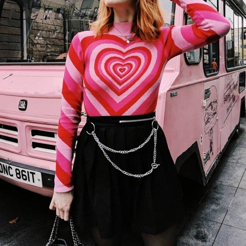 Harajuku розовый свитер с воротником хомутом и сердечком, вязаный женский пуловер с длинным рукавом 2019