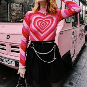 Image 1 - Harajuku Pink Sweet Heart Half Turtleneck Sweater Long Sleeve Love Knitting Women 2019 Pullovers