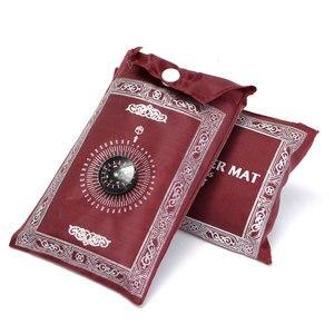 Image 2 - 100x60cm Red Portable Prayer Rug Kneeling Poly Mat for Muslim Islam Waterproof Prayer Mat Carpet