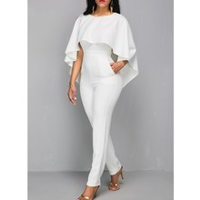 Womens Solid Skinny Jumpsuit Woman White O Neck Bodycon Romper Elegant Office Party Jumpsuits Rompers