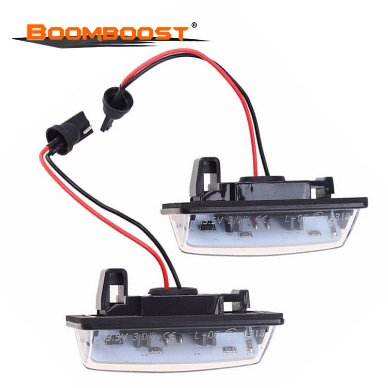 LED license plate light car-styling 2pcs lighting for <font><b>Nissan</b></font> TEANA E11 <font><b>E12</b></font> C25 C26 2x Error Free Xenon White image