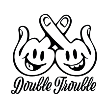 18*16.7cm Double Trouble Vinyl Decal Sticker Decor Car Middle Finger Smile Rear Window