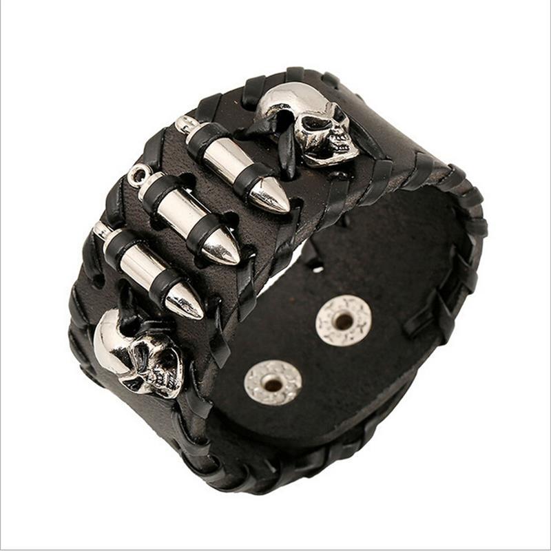 YAKAMOZ Rock Wide Cuff Bracelet Männer geflochtene Nieten breite - Modeschmuck - Foto 2