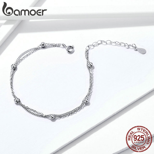 BAMOER 925 Silver Chain Bracelet Women Round Beads Double Layers Link Chain  3