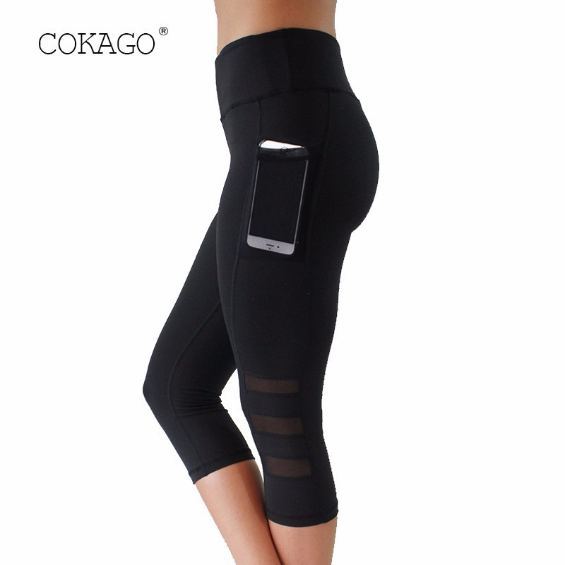 COKAGO Mesh 3/4 Yoga Pants Women Size Plus XXL Breathable