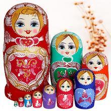 10 шт./партия, креативные милые детские матрешки, деревянные русские куклы, ручная роспись, бук, Матрешка, игрушечный комплект кукол