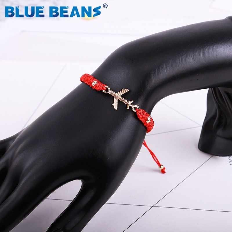 בוהמיה נשים צמידים קלוע חבל מטוסים מתכוונן Slipknot צמיד חבל אדום בעבודת יד תכשיטי ידידות קסם Bracelete