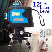 Удаленный Управление 120X12 линий 3D 360 зеленый лазер уровень точности наливные противоударный 532nm волны Перезаряжаемые точной