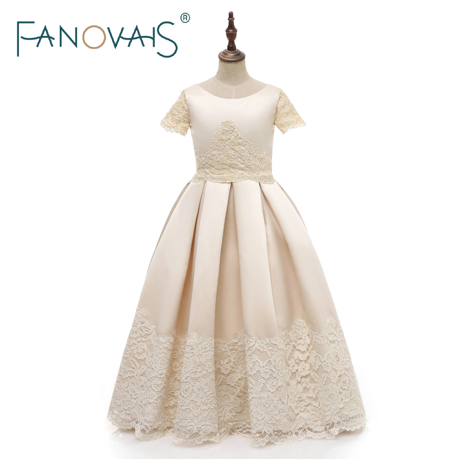 Champagne Flower Girl Dresses Kid Special Occasion Dress for Wedding Lace Party Dress Short Sleeves Flower Girl Dress