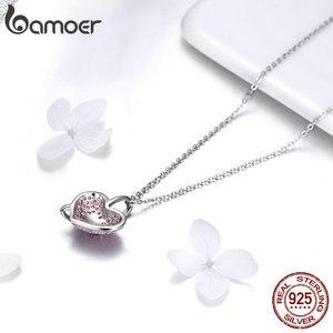 Image 4 - Bamoer coração colar de prata 925 luminoso rosa cz bowknot pingente colares para mulheres presentes de jóias finas para ela 45mm bsn049