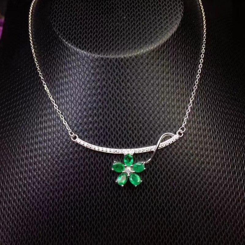 Elegante verde smeraldo del pendente per il partito 5 pz naturale SI grado smeraldo ciondolo collana in argento solido 925 argento smeraldo gioielli - 6