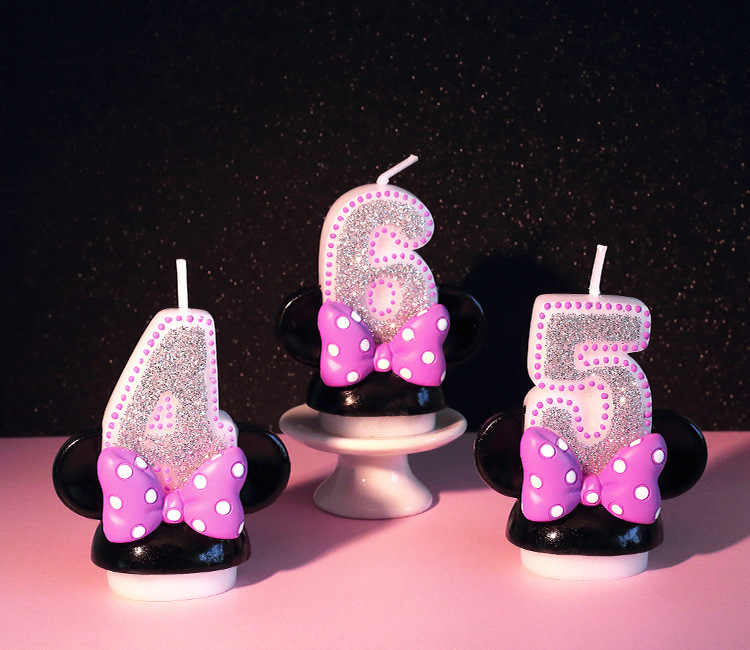 1PCS Birthday Candle Digital Chart Number Candle Pink Bow Minnie Candle Girl Baby Birthday Anniversary Handmade Perfume