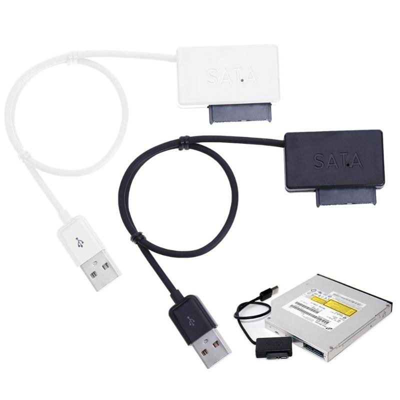 ALLOYSEED Schwarz/Weiß USB 2.0 zu Mini Sata II <font><b>7</b></font> + <font><b>6</b></font> <font><b>13Pin</b></font> Adapter Konverter Kabel für Notebook CD/ DVD ROM Slimline Stick image