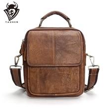 2019 New Genuine Leather Shoulder Bags Fashion Men Messenger Bag Small Ipad Male Tote Vintage New Crossbody Bags Men's Handbags недорого