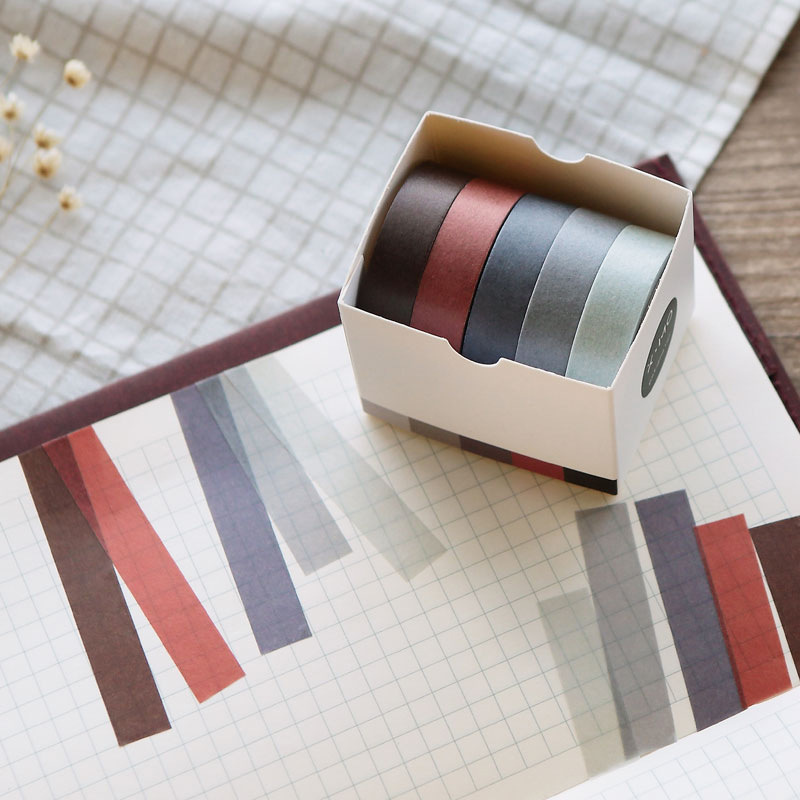 SIXONE 5 Rolls/box Washi Tape Solid Color Series Hand Account Hand Tear Practical Function Diy Decoration Pictures On Match