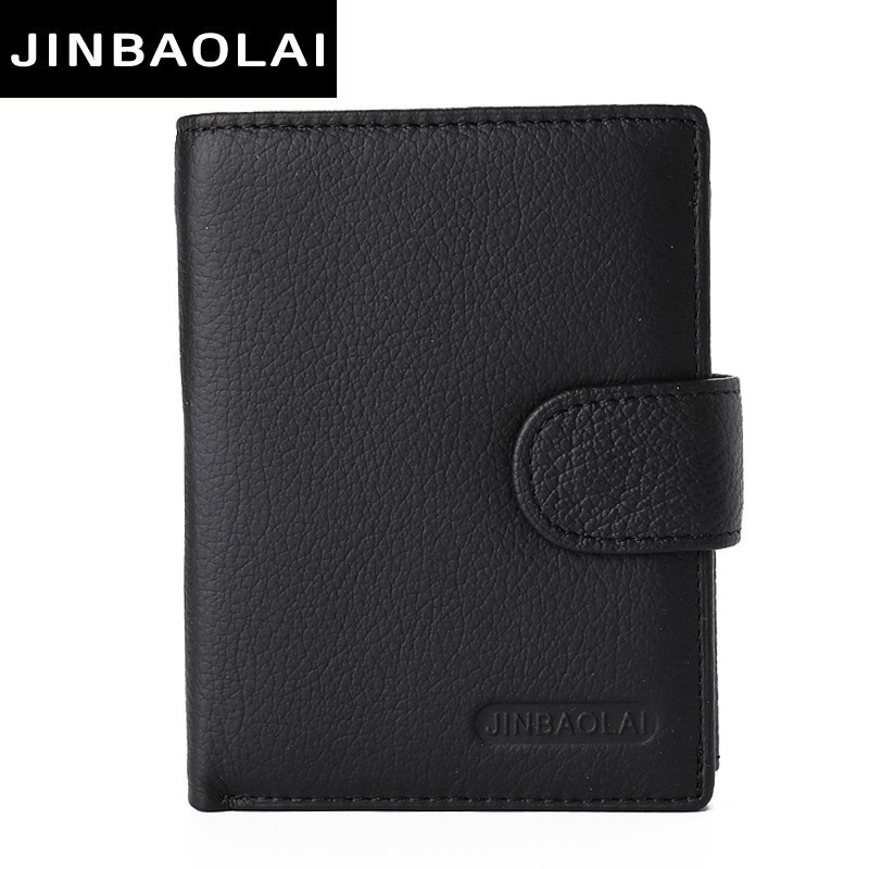 JINBAOLAI Multifunction Leather wallet men with coin pocket business wallets hasp design genuine leather male wallets coin purse coin purse new design 3d touch silica gel wallet dragon ball z spider man batman deadpool superman wallets with coin pocket