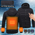 Зимняя с подогревом USB с капюшоном Рабочая куртка пальто регулируемая температура контроль безопасности одежда для мужчин