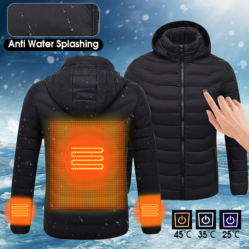 Winter Heated USB Hooded Work Jacket Coats Adjustable Temperature Control Safety Clothing For Mens mens winter heated usb charge hooded work jacket coats vest adjustable temperature control safety clothing