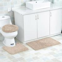3 PCS Set Bathroom Anti Slip Mat Toilet Seat Cover Absorbent Chenille Bath Rug Contour Mat Solid Lid Cover Non Slip With Rubber