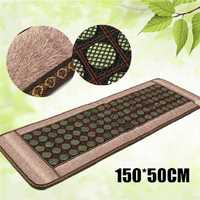 50X150CM 80W 220V Home Natural Jade Heating Infrared Mats Massage Stones Negative ion Massage Blanket Pad Relaxation Health Care