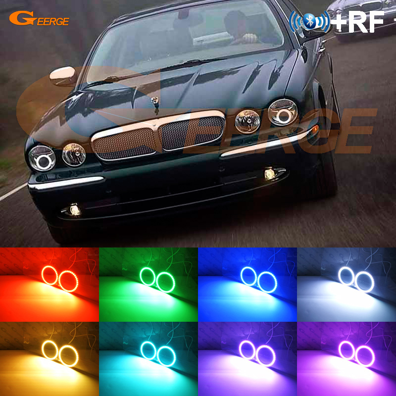 For Jaguar Xj Xj6 Xj8 X350 X358 2003 2009 Xenon Headlight Excellent Rf Bluetooth Controller Multi Color Rgb Led Angel Eyes Kit