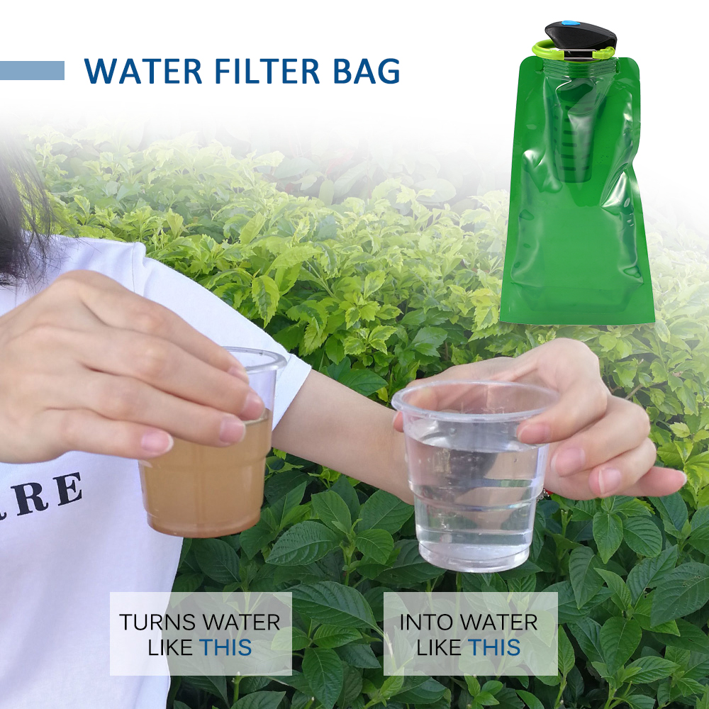 750ml Foldable Water Filter Bag BPA Free Water Bladder Water Filtration Bottle + Carabiner Outdoor Emergency Safety & Survival