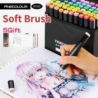 Professional Brush FINECOLOUR Art Marker Twin Tip (Color Set) Soft Brush/Oblique Alcohol Ink Comic Design Art Supplies EF102