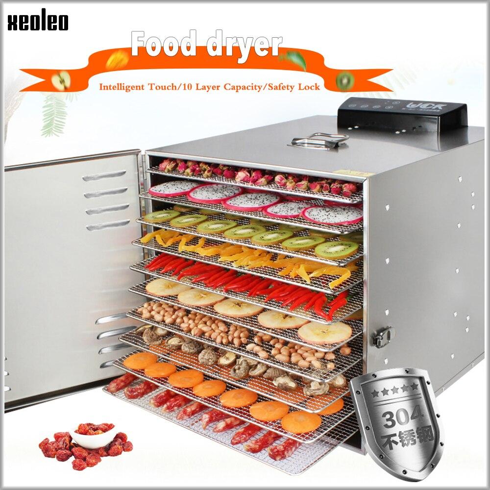 XEOLEO séchoir à fruits Machine de séchage des aliments déshydrateur alimentaire 10 couches en acier inoxydable Homeuse séchoir à déshydratation des légumes/fruits 800W