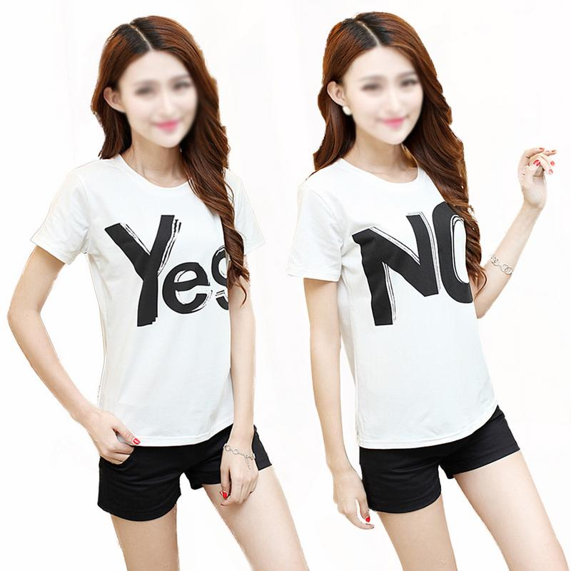 New Letter Short Sleeve T-shirt Women's Round Neck Loose Leisure Top Fashion Casual Lovers Yes/no Printing Shirt