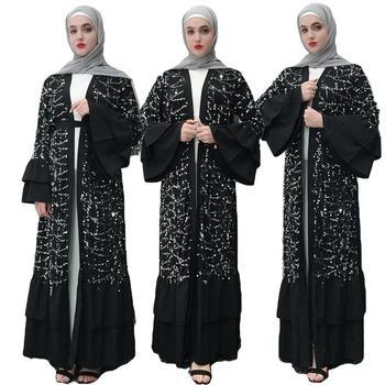 16d5541e1 Luxruy Abaya Dubai Kaftan lentejuelas Cardigan musulmán Maxi vestido caftán  Omán Qatar Abayas para las mujeres turco el Islam ropa de moda